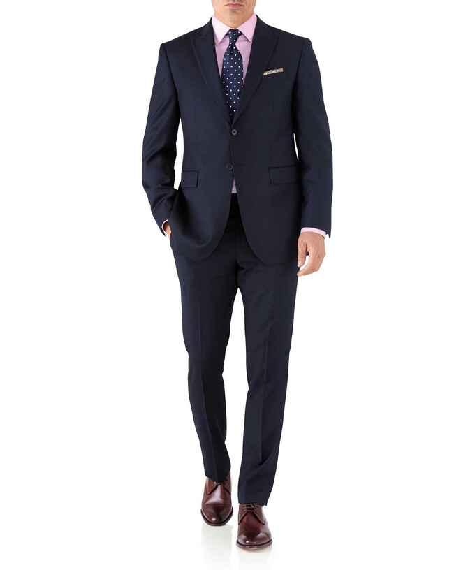 Navy classic fit peak lapel twill business suit