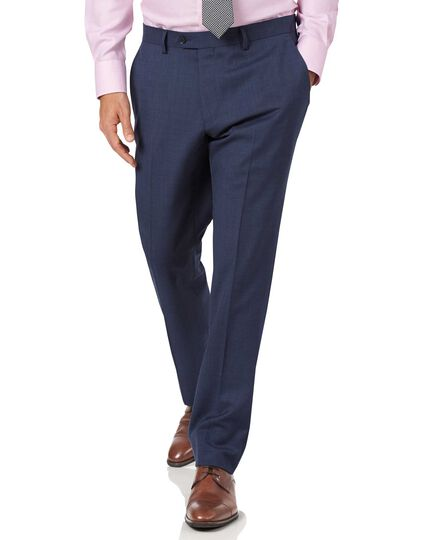 Airforce blue slim fit sharkskin travel suit trousers