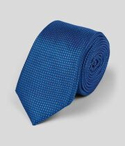 Silk Slim Pindot Plain Tie - Royal Blue