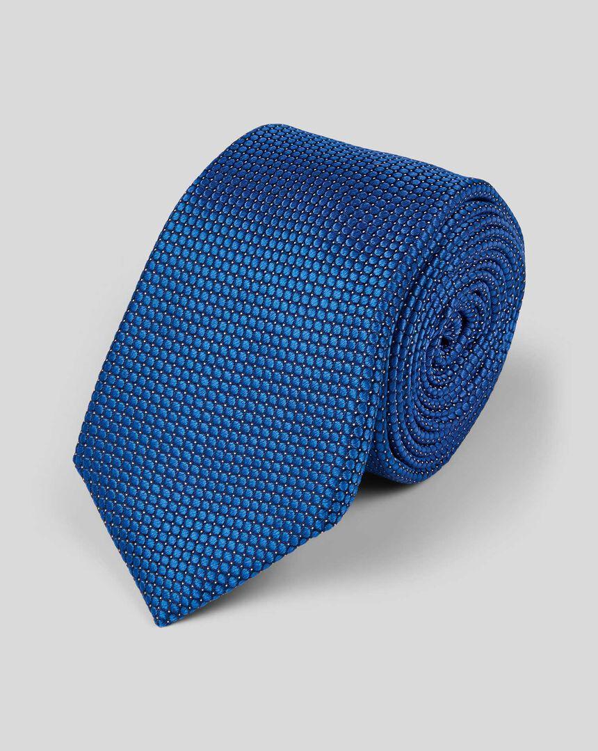 Silk Slim Pindot Plain Tie - Royal Blue