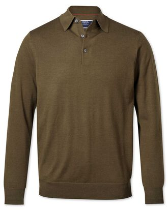 Olive polo collar merino jumper