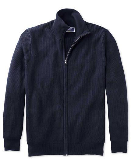 Gilet zippé bleu marine en coton Pima texturé