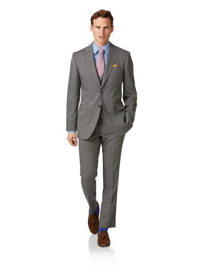 Silver slim fit step weave suit