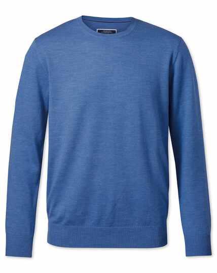 Pull bleu en laine mérinos à col rond