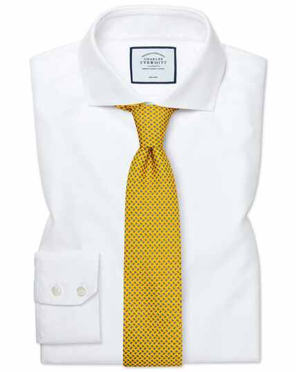 Slim fit cutaway collar non-iron Buckingham weave white shirt