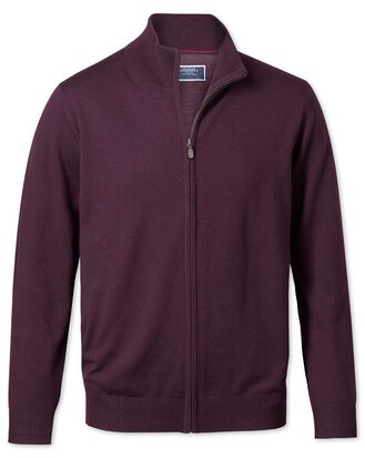 Wine zip through merino cardigan