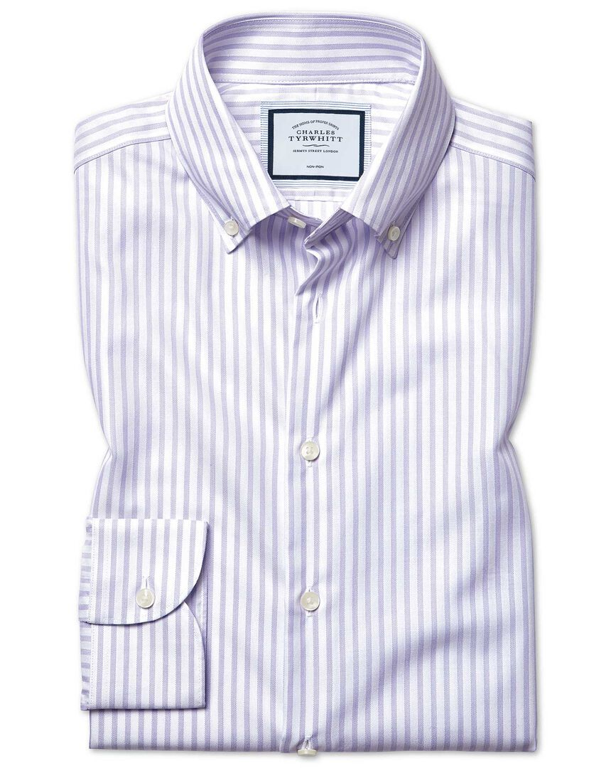 Slim fit business casual non-iron with TENCEL™ lilac stripe shirt