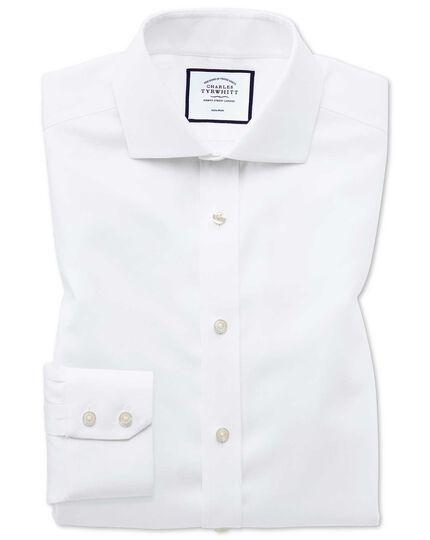 Oxfordhemd Classic Fit Bügelfrei mit Stretch und Haifischkragen in Weiß