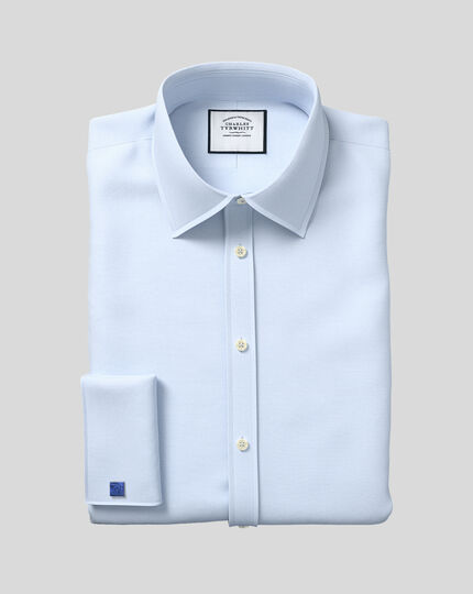 Egyptian Cotton Lattice Weave Shirt - Sky