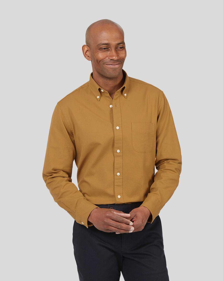 Oxford Hemd mit Button-down-Kragen - Senffarben