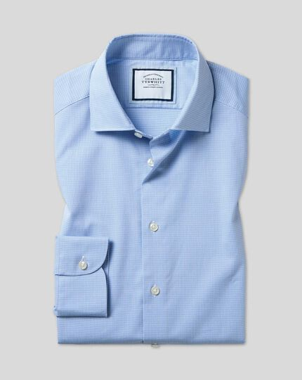 Geschmeidig smartes Hemd mit Business-Casual-Kragen und Karos - Himmelblau