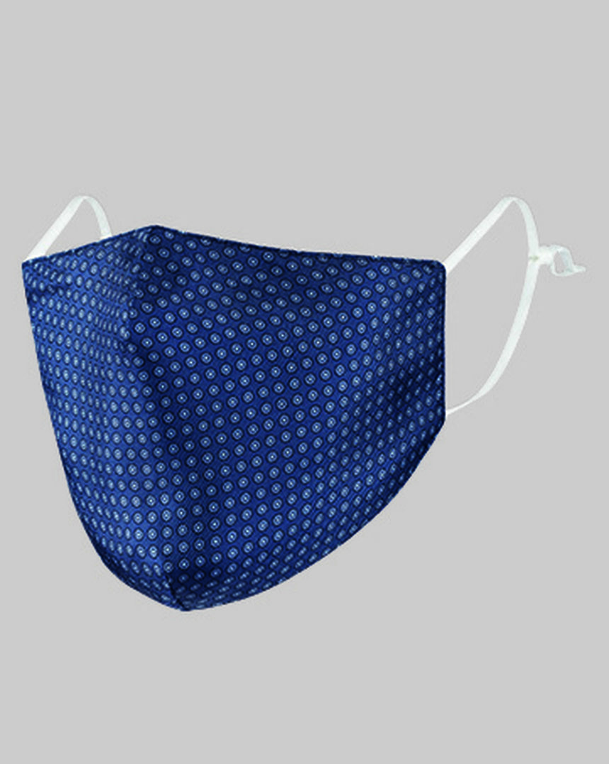 2-in-1 Silk Face Mask & Pocket Square - Airforce Blue