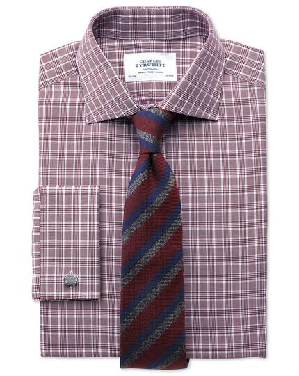 Classic fit Prince of Wales basketweave berry shirt