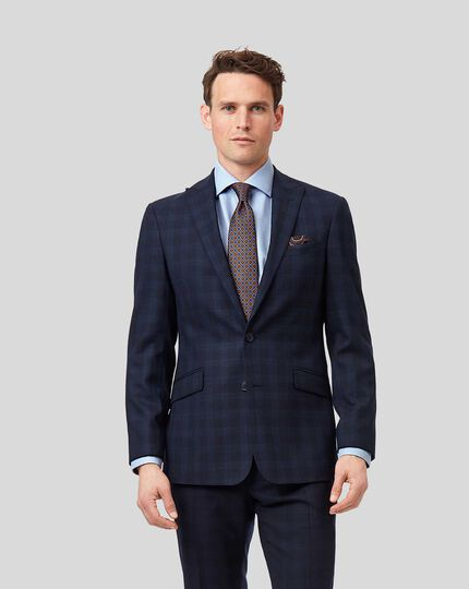 Business Check Suit Jacket - Midnight Blue