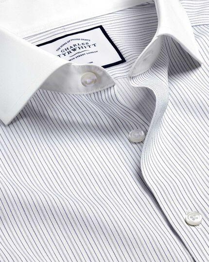 Bügelfreies Winchester-Hemd mit Haifischkragen und Streifen - Blau & Weiß