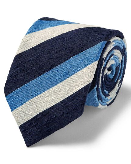 Blue multi luxury English slub triple stripe tie