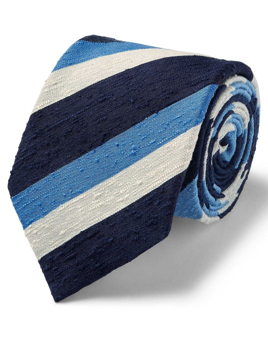 Blue multi slub triple stripe luxury English tie