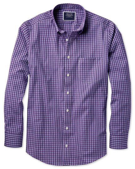 Classic fit non-iron purple gingham shirt