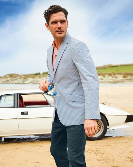 Slim fit blue striped cotton seersucker jacket