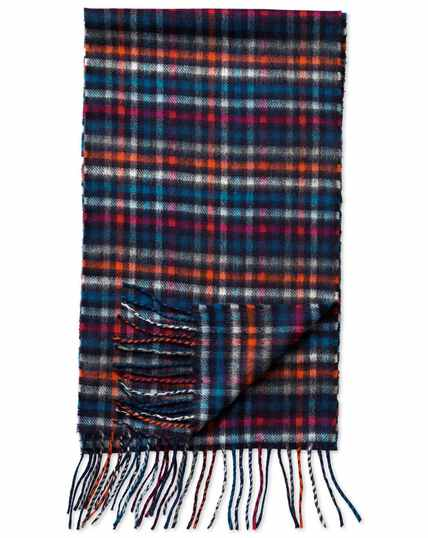 Multi check cashmere and merino scarf