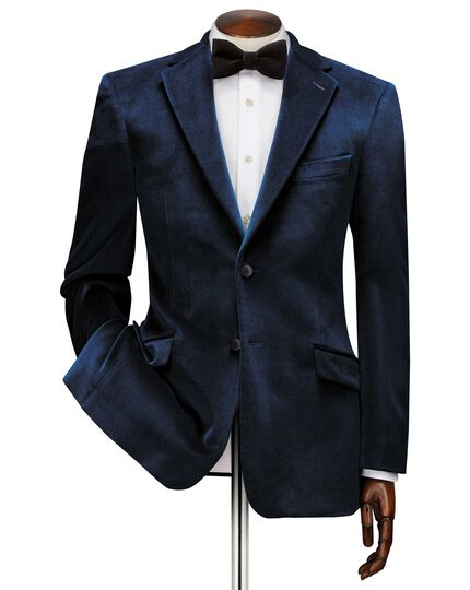 Slim fit teal velvet jacket