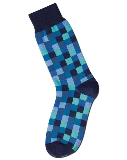 Blue multi check socks