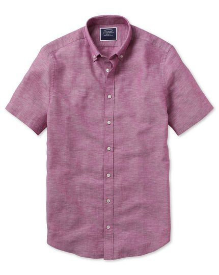 Classic fit dark pink cotton linen twill short sleeve shirt