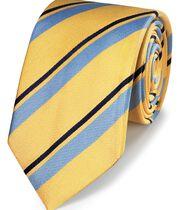 Cravate classique jaune et bleue en soie à rayures