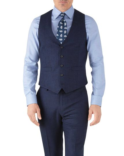 Royal blue adjustable fit flannel business suit vest
