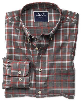 Chemise grise en twill à carreaux coupe droite sans repassage