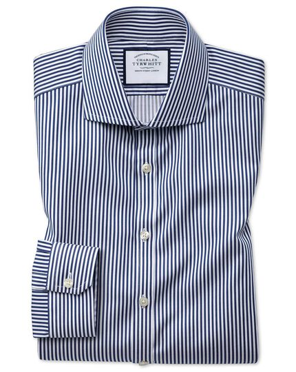 Super slim fit non-iron cutaway collar navy twill stripe shirt