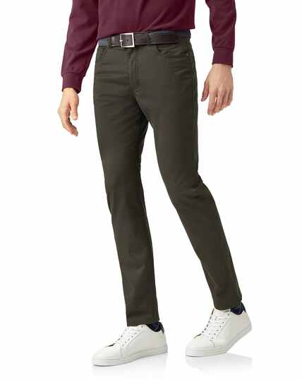 Olive cotton stretch 5-pocket trousers