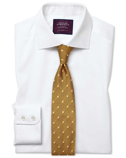 Classic fit semi-spread collar luxury twill white shirt