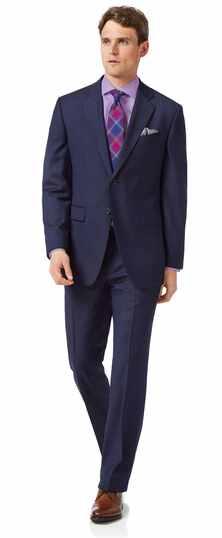 Blue classic fit twill stripe business suit