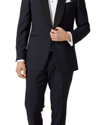 Midnight blue slim fit shawl collar tuxedo suit
