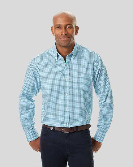 Button-Down Collar Non-Iron Stretch Oxford Gingham Shirt - Green Multi
