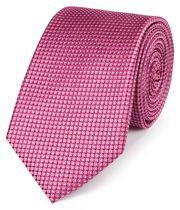 Klassische Krawatte aus Seide mit Nadelpunkten in Faux-Uni Rosa