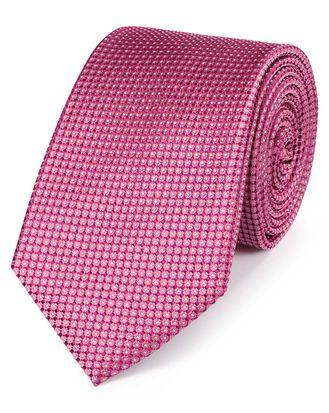 Pink silk pindot semi plain classic tie