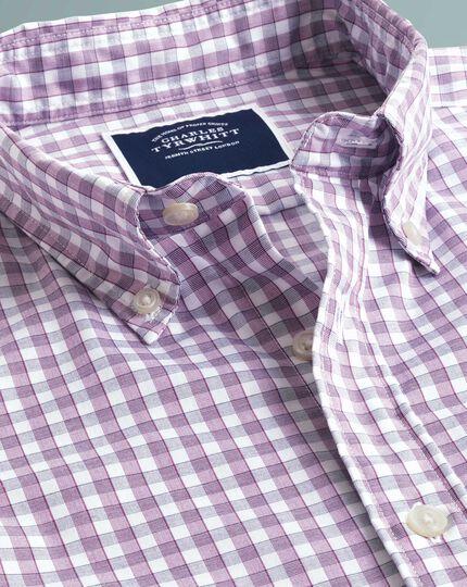 Chemise Tyrwhitt Cool myrtille coupe droite à carreaux vichy et manches courtes à délavage doux sans repassage