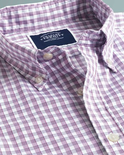 Classic fit berry short sleeve gingham soft washed non-iron Tyrwhitt Cool shirt