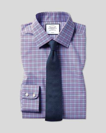 Classic Collar Non-Iron Prince Of Wales Check Shirt - Purple & Blue