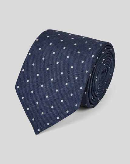 Klassische Krawatte aus Seide & Leinen mit Punkten - Marineblau