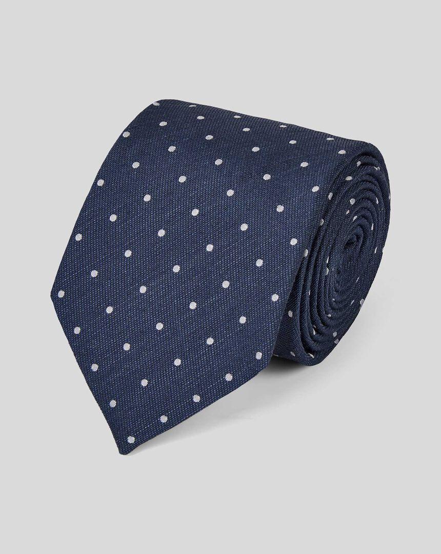 Silk Linen Spot Classic Tie - Navy