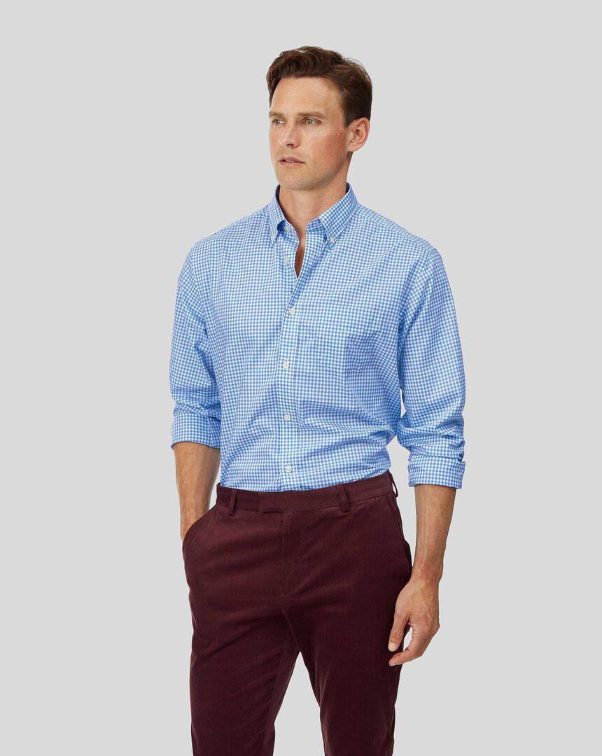 Vorgewaschenes Popeline-Hemd aus Stretchgewebe mit Button-down-Kragen und Karos - Himmelblau