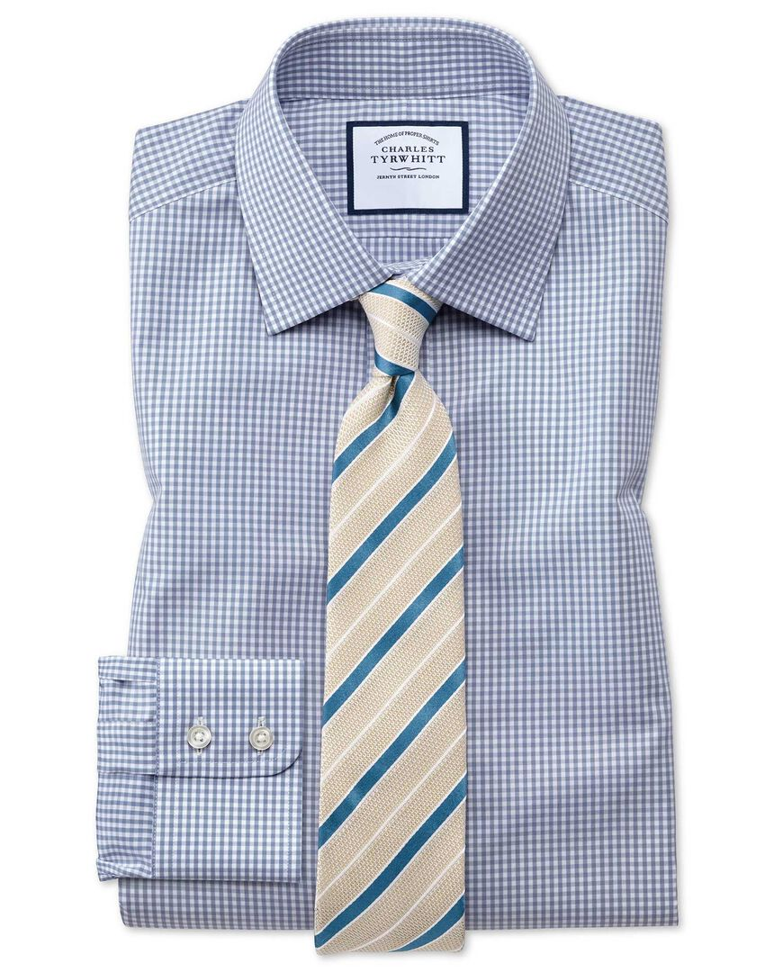 Classic fit small gingham grey shirt
