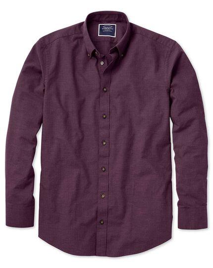 Slim fit berry herringbone melange shirt
