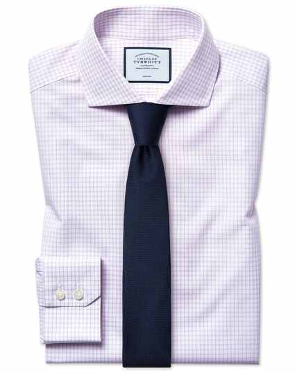 Extra slim fit non-iron 4-way stretch lilac shirt