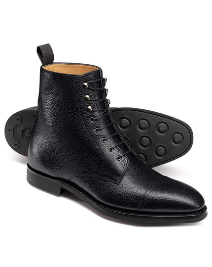 8570599db9fdd Black Goodyear welted toe cap boots