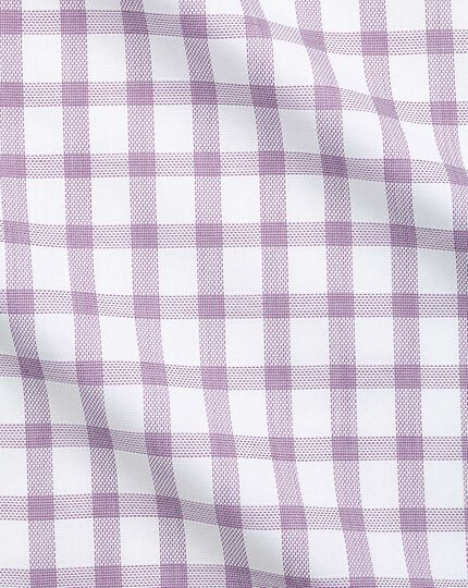 Slim fit windowpane check purple shirt