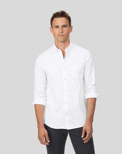 Chemise en oxford blanc délavé extra slim fit à col boutonné